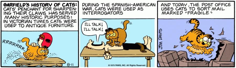 Оригинал комикса про Гарфилда от 11 августа 1979 года
