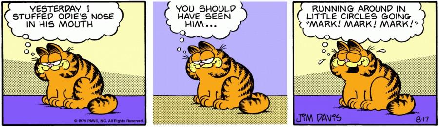 Оригинал комикса про Гарфилда от 17 августа 1979 года