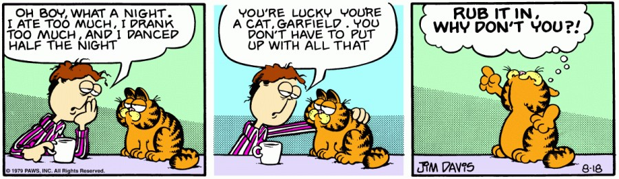 Оригинал комикса про Гарфилда от 18 августа 1979 года