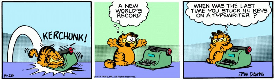 Оригинал комикса про Гарфилда от 28 августа 1979 года