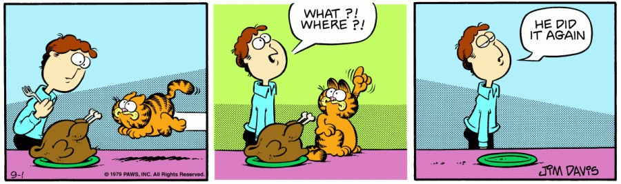 Оригинал комикса про Гарфилда от 01 сентября 1979 года
