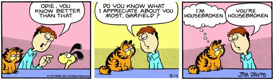 Оригинал комикса про Гарфилда от 14 сентября 1979 года