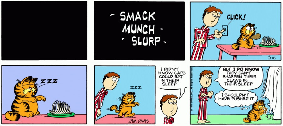 Оригинал комикса про Гарфилда от 16 сентября 1979 года