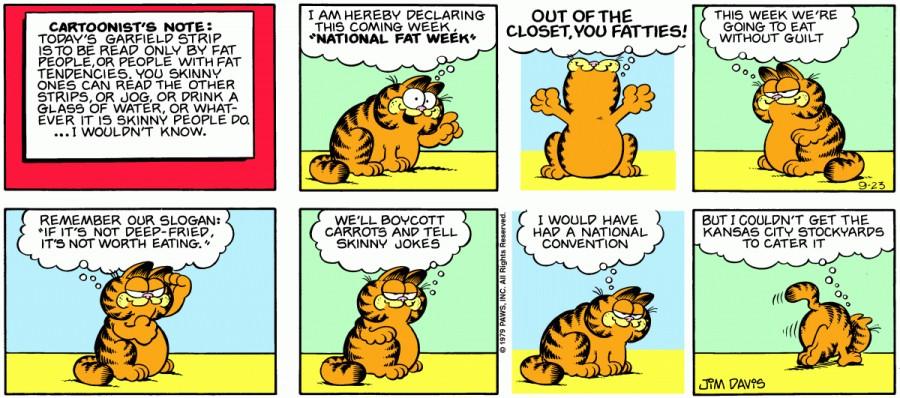 Оригинал комикса про Гарфилда от 23 сентября 1979 года