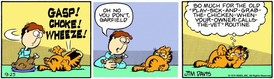 Оригинал комикса про Гарфилда от 25 сентября 1979 года