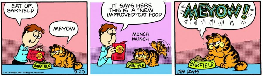 Оригинал комикса про Гарфилда от 29 сентября 1979 года