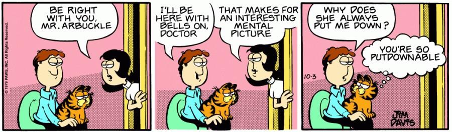 Оригинал комикса про Гарфилда от 03 октября 1979 года
