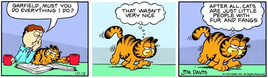 Оригинал комикса про Гарфилда от 12 октября 1979 года