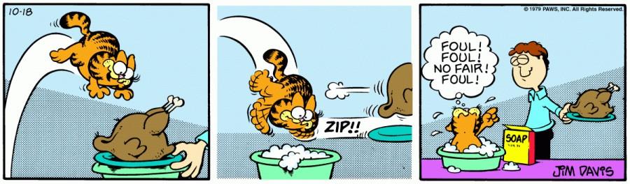 Оригинал комикса про Гарфилда от 18 октября 1979 года