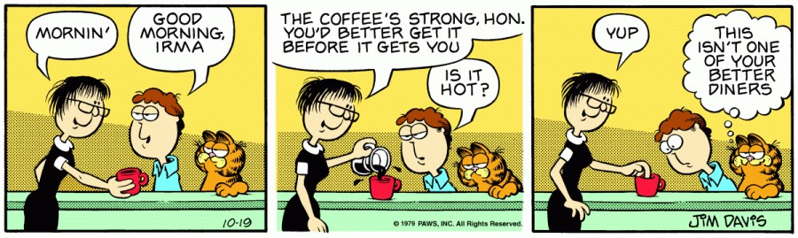 Оригинал комикса про Гарфилда от 19 октября 1979 года