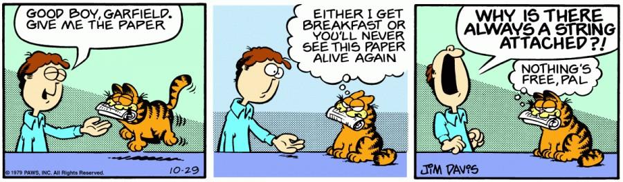Оригинал комикса про Гарфилда от 29 октября 1979 года