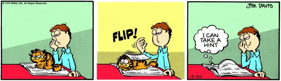 Оригинал комикса про Гарфилда от 30 октября 1979 года