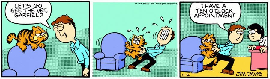 Оригинал комикса про Гарфилда от 02 ноября 1979 года