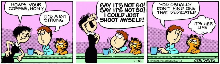 Оригинал комикса про Гарфилда от 16 ноября 1979 года