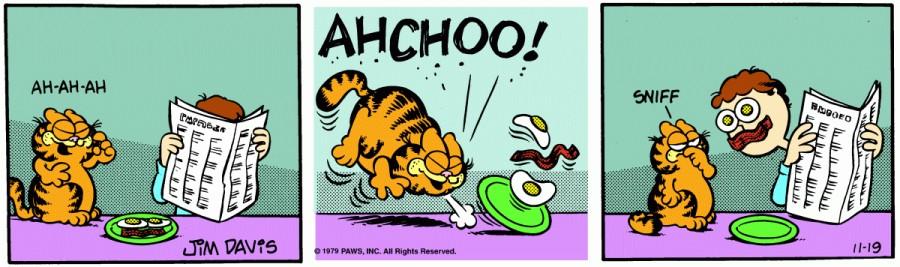 Оригинал комикса про Гарфилда от 19 ноября 1979 года