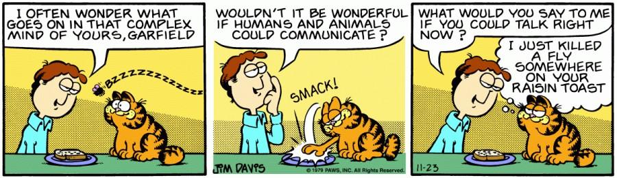 Оригинал комикса про Гарфилда от 23 ноября 1979 года
