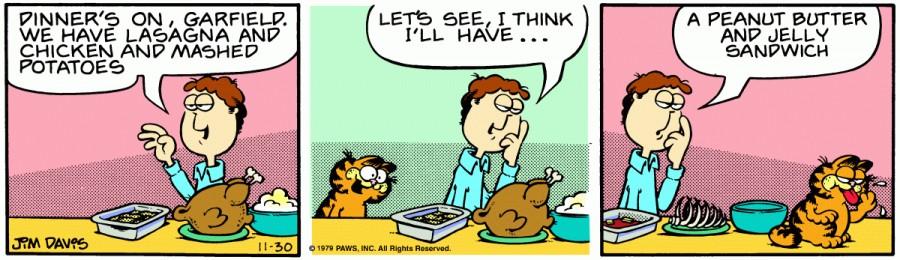 Оригинал комикса про Гарфилда от 30 ноября 1979 года