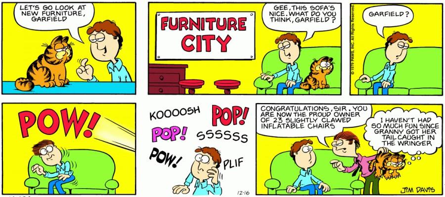 Оригинал комикса про Гарфилда от 16 декабря 1979 года