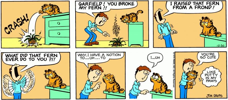 Оригинал комикса про Гарфилда от 30 декабря 1979 года