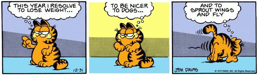 Оригинал комикса про Гарфилда от 31 декабря 1979 года