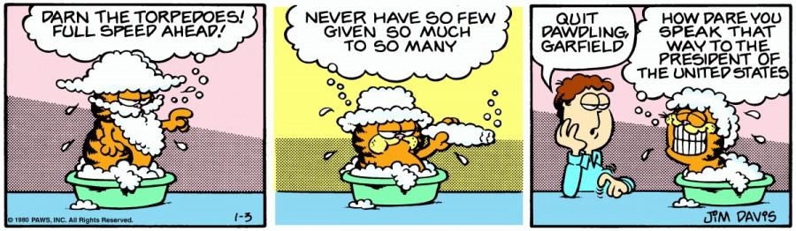 Оригинал комикса про Гарфилда от 03 января 1980 года