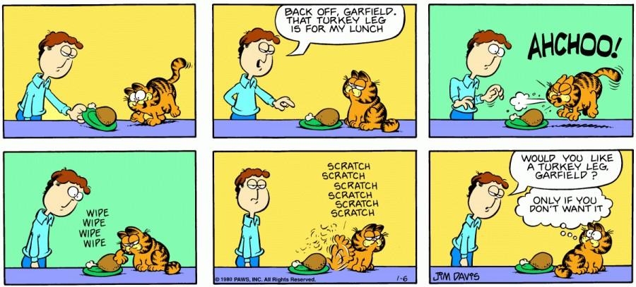 Оригинал комикса про Гарфилда от 06 января 1980 года
