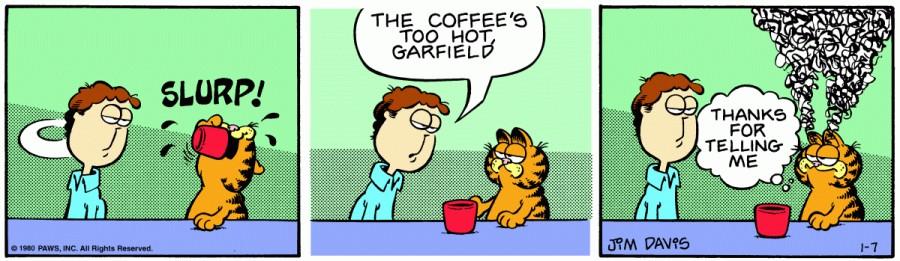 Оригинал комикса про Гарфилда от 07 января 1980 года
