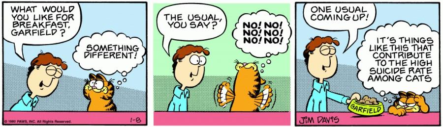 Оригинал комикса про Гарфилда от 08 января 1980 года