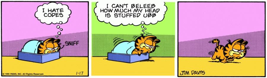 Оригинал комикса про Гарфилда от 17 января 1980 года