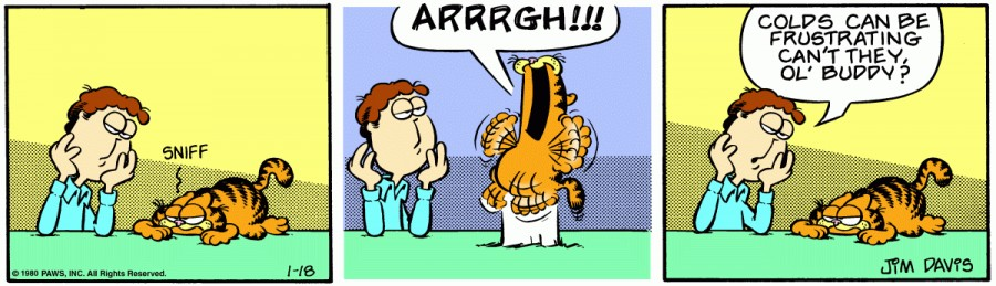 Оригинал комикса про Гарфилда от 18 января 1980 года