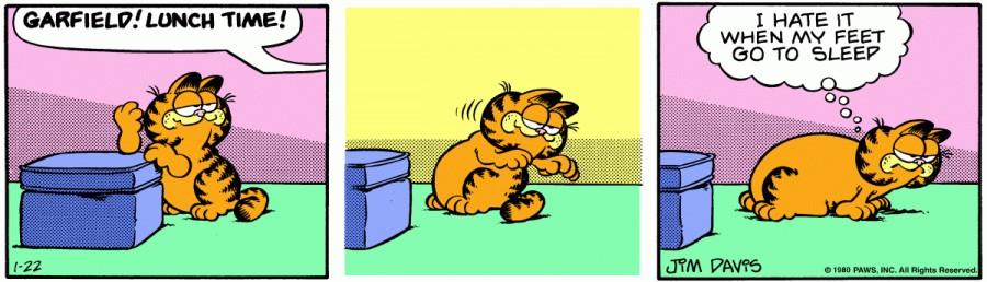 Оригинал комикса про Гарфилда от 22 января 1980 года