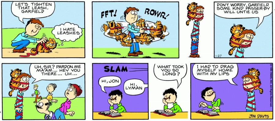 Оригинал комикса про Гарфилда от 27 января 1980 года