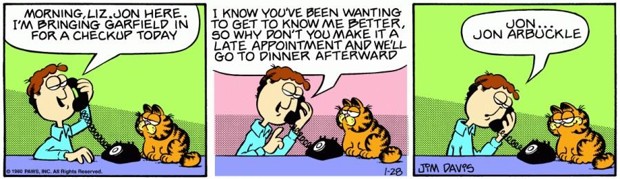 Оригинал комикса про Гарфилда от 28 января 1980 года
