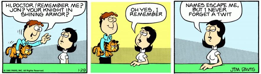 Оригинал комикса про Гарфилда от 29 января 1980 года