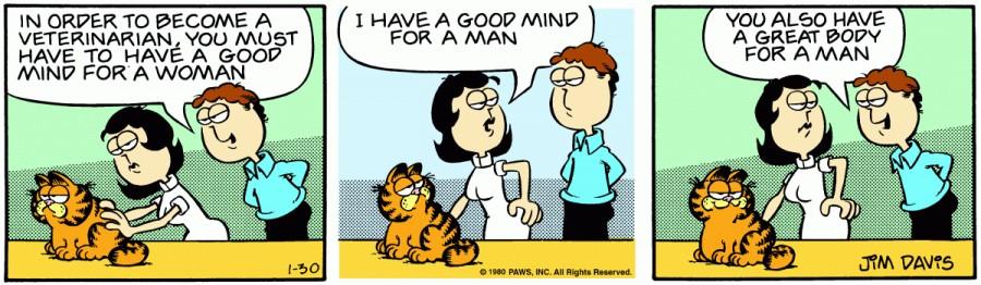 Оригинал комикса про Гарфилда от 30 января 1980 года