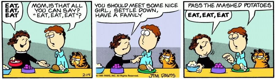 Оригинал комикса про Гарфилда от 14 февраля 1980 года