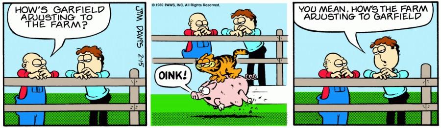 Оригинал комикса про Гарфилда от 15 февраля 1980 года