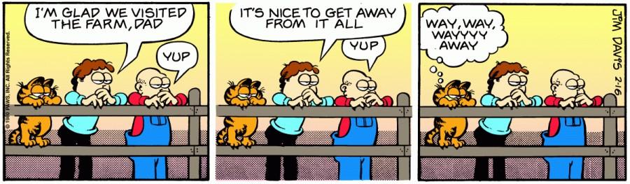 Оригинал комикса про Гарфилда от 16 февраля 1980 года