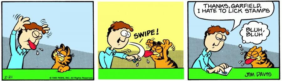 Оригинал комикса про Гарфилда от 21 февраля 1980 года