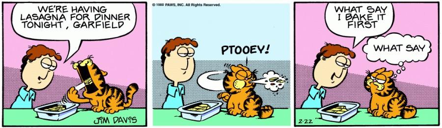 Оригинал комикса про Гарфилда от 22 февраля 1980 года
