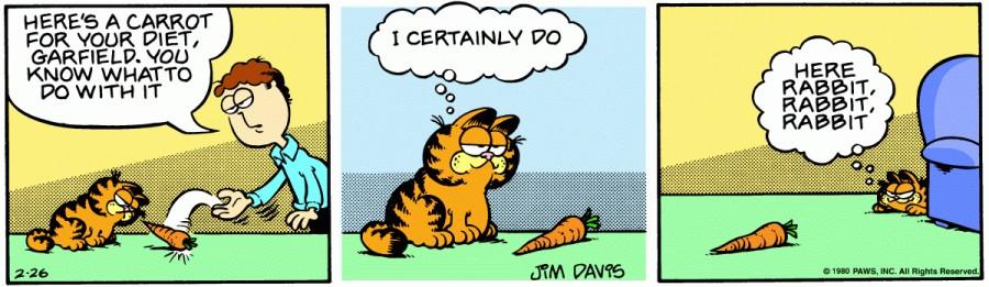 Оригинал комикса про Гарфилда от 26 февраля 1980 года