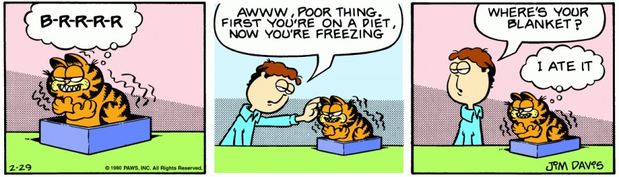 Оригинал комикса про Гарфилда от 29 февраля 1980 года