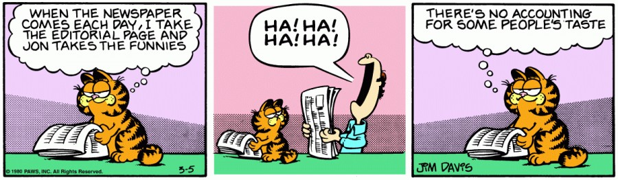 Оригинал комикса про Гарфилда от 05 марта 1980 года