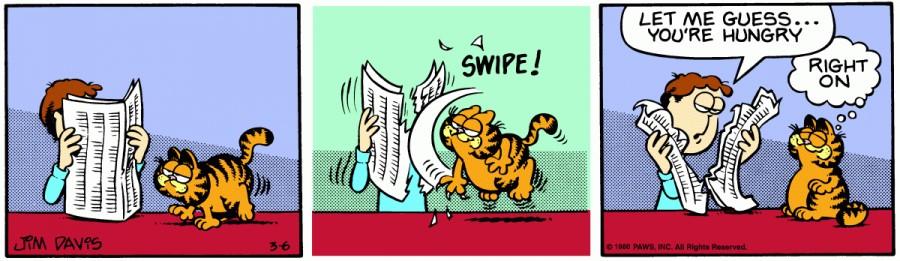 Оригинал комикса про Гарфилда от 06 марта 1980 года