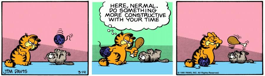 Оригинал комикса про Гарфилда от 14 марта 1980 года