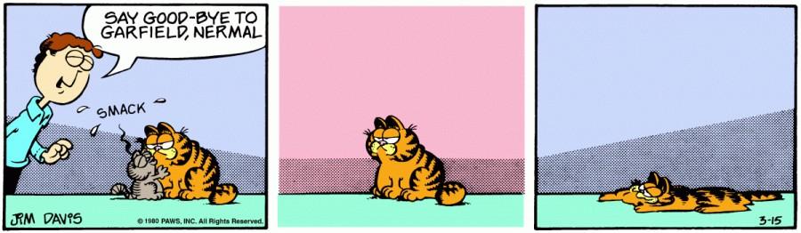 Оригинал комикса про Гарфилда от 15 марта 1980 года