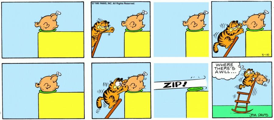 Оригинал комикса про Гарфилда от 16 марта 1980 года