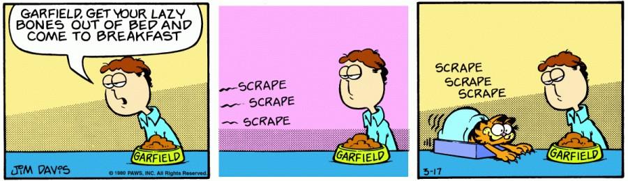 Оригинал комикса про Гарфилда от 17 марта 1980 года