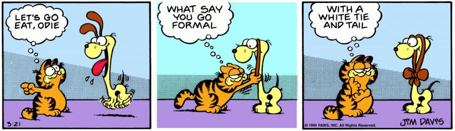 Оригинал комикса про Гарфилда от 21 марта 1980 года