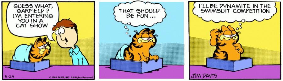Оригинал комикса про Гарфилда от 24 марта 1980 года